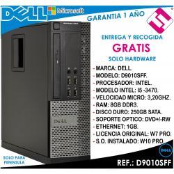 PC ORDENADOR OCASION DELL D9010SFF INTEL I5 3470 3,2HZ 8GB 250GB DVD+RW OFERTA