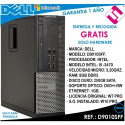 PC ORDENADOR OCASION DELL D9010SFF INTEL I5 3470 3,2HZ 8GB 250GB DVD+RW OFERTA