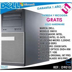 PC ORDENADOR OCASION DELL D9010 INTEL I5 3470 3,2HZ 8GB RAM 250GB DVD+RW TORRE