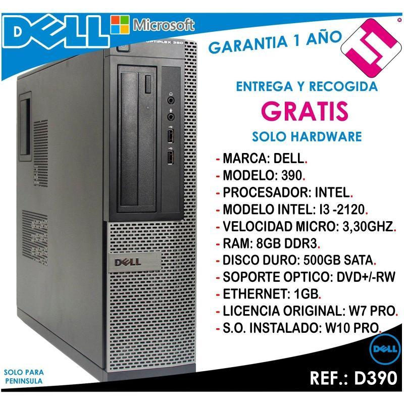 PC ORDENADOR OCASION DELL D390 INTEL I3 2120 3,3HZ 8GB RAM 500GB DVD+RW OFERTA