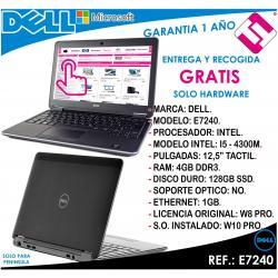 PORTATIL ORDENADOR OCASION DELL E7240 I5 4300M 2,6GHZ 4GB 128GB SSD 12,5 TACTIL
