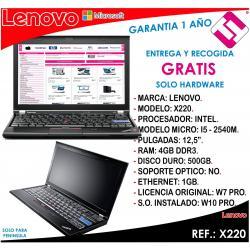 PORTATIL ORDENADOR OCASION LENOVO X220 I5 2540M 2,6GHZ 4GB RAM 500GB DISCO 12,5