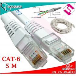 CABLE 5 METROS CATEGORÍA 6 RJ45 PP6-5M CAT6 1000MB 1GB GRIS AWG26 CCA GEMBIRD