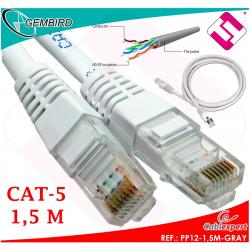 CABLE 1,50 METROS CATEGORIA 5 RJ45 PP12-1,5M GRAY CAT5 1000MB 1GB GRIS GEMBIRD