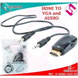 ADAPTADOR A-HDMI-VGA-02 HDMI 19 PINES MACHO VGA DB15 VESA CONVERTIDOR + JACK 3.5