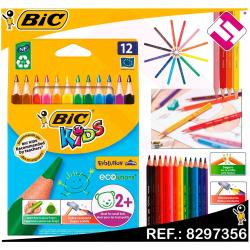 PACK BLISTER 12 LAPICES BIC KIDS COLORES TRIANGULARES APRENDIZAJE RESISTENTES