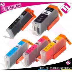 PACK TINTA PGI 550 CLI 551 XL NEGROS CARTUCHO COMPATIBLE CIAN MAGENTA AMARILLO