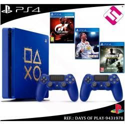 DAYS OF PLAY PS4 500GB 2 MANDOS AZULES GRAN TURISMO SPORT FIFA 2018 CALL OF...