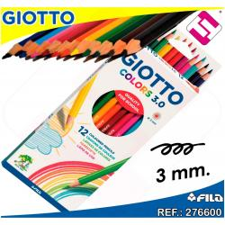 12 LAPICES DE COLORES GIOTTO COLORS 3.0 PUNTA 3MM HEXAGONALES RESISTENTE OFERTA