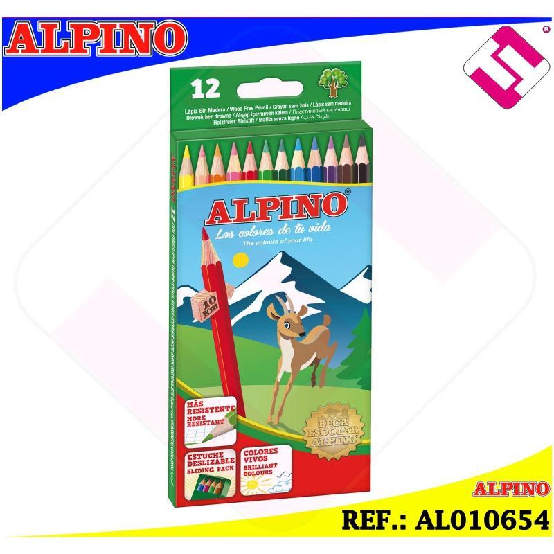 ESTUCHE ALPINO 12 COLORES VIVOS BRILLANTES SURTIDOS 3,3MM LAPICES HEXAGONALES