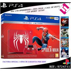 PS4 PLAYSTATION 4 1TB ROJA MARVEL´S SPIDERMAN CUH-2216B FIFA2018 CALL OF DUTY...