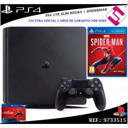PS4 PLAYSTATION 4 1TB NEGRA MARVEL´S SPIDERMAN CONSOLA SONY COLOR NEGRO + JUEGO