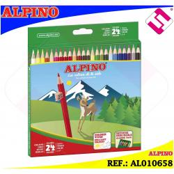 ESTUCHE ALPINO 24 COLORES VIVOS BRILLANTES SURTIDOS 3,3MM LAPICES HEXAGONALES