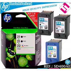 PACK TINTA X2 HP 21 NEGRA + X1 HP 22 TRICOLOR ORIGINAL CARTUCHO HEWLETT PACKARD