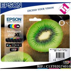 PACK TINTA EPSON 202XL SET 5 COLORES ORIGINAL CARTUCHO IMPRESORA MULTIFUNCION