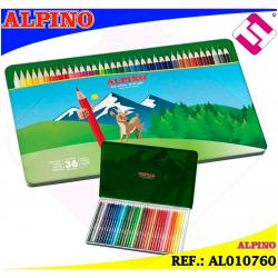 ESTUCHE METALICO ALPINO 36 LAPICES COLORES CON MINA RESISTENTE AGUA IDEAL REGALO