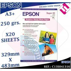 20 HOJAS PAPEL FOTOGRAFICO A3+ PLUS EPSON 329X 483 MM PREMIUM GLOSSY FOTO 250 GR