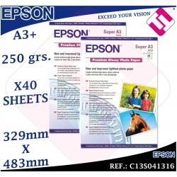 40 HOJAS PAPEL FOTOGRAFICO A3+ PLUS EPSON 329X 483 MM PREMIUM GLOSSY FOTO 250 GR