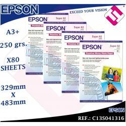 80 HOJAS PAPEL FOTOGRAFICO A3+ PLUS EPSON 329X 483 MM PREMIUM GLOSSY FOTO 250 GR