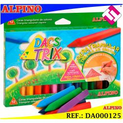 ALPINO 12 COLORES CERAS SUAVES TRIANGULARES DACS TRIX CERA TRIANGULAR NO MANCHA