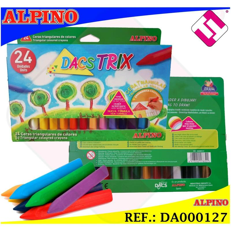 ALPINO 24 COLORES CERAS SUAVES TRIANGULARES DACS TRIX CERA TRIANGULAR NO MANCHA