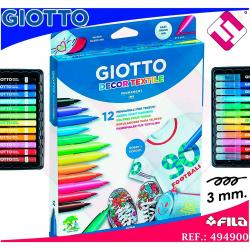 12 ROTULADORES COLORES GIOTTO DECOR TEXTILE PUNTA PINCEL PARA ROPA PLANCHADO
