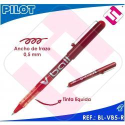 PILOT ROTULADOR ROLLER V BALL 5 COLOR ROJO BOLA 0,5MM TRAZO 0,3MM TINTA LIQUIDA