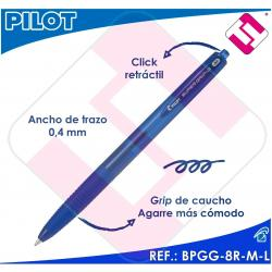 PILOT BOLIGRAFO RETRACTIL SUPERGRIP G AZUL BOLA 1MM TRAZO 0,4 TINTA BASE ACEITE