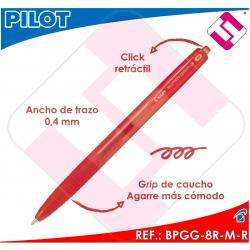 PILOT BOLIGRAFO RETRACTIL SUPERGRIP G ROJO BOLA 1MM TRAZO 0,4 TINTA BASE ACEITE