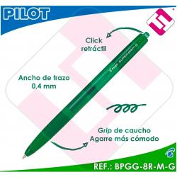 PILOT BOLIGRAFO RETRACTIL SUPERGRIP G VERDE BOLA 1MM TRAZO 0,4 TINTA BASE ACEITE