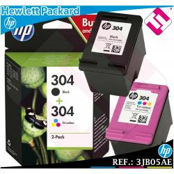 PACK HP TINTA NEGRA + TRICOLOR 304 ORIGINAL CARTUCHO NEGRO COLOR VERSION...