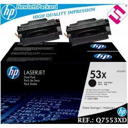 PACK 2 TONER NEGRO Q7553XD 7553XD 53XD XL ORIGINAL HP HEWLETT PACKARD GENUINE