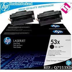 PACK 2 TONER NEGRO Q7553XD 7553XD 53XD XL ORIGINAL HP HEWLETT PACKARD GENUINE