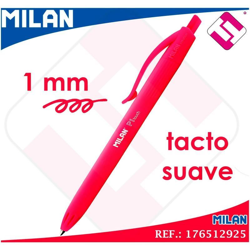 BOLIGRAFO TINTA ROJO MILAN P1 TOUCH BALLPEN PUNTA FINA 1MM RETRACTIL TACTO SUAVE