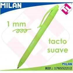 BOLIGRAFO VERDE CLARO MILAN P1 TOUCH PUNTA FINA 1MM RETRACTIL TINTA DE ACEITE