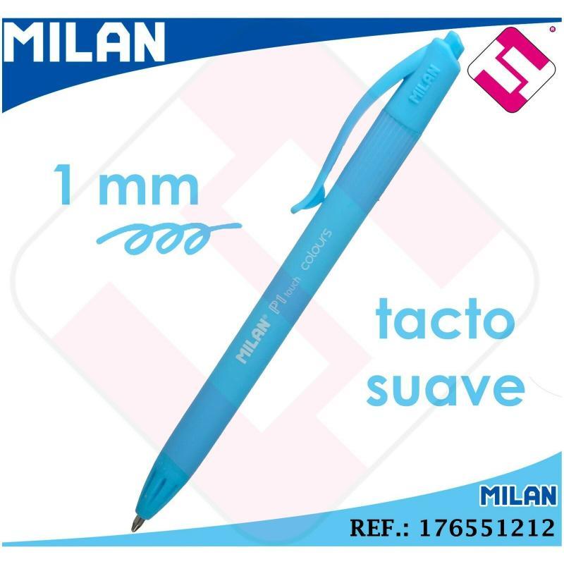 BOLIGRAFO AZUL CLARO MILAN P1 TOUCH PUNTA FINA 1MM RETRACTIL TINTA BASE ACEITE
