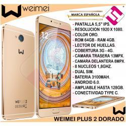 SMARTPHONE WEIMEI PLUS DORADO 5,5 PULGADAS 64GB 4GB 13MP OCTACORE OFERTA...