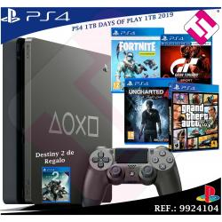 DAYS OF PLAY PS4 1TB 2019 PLAYSTATION 4 + JUEGOS GTSPORT FORNITE UNCHARTED4 GTAV