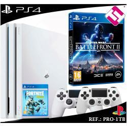 PS4 PLAYSTATION 4 PRO 1TB BLANCA 2 MANDOS BLANCOS STARWARS BATTLEFRONT 2 FORNITE