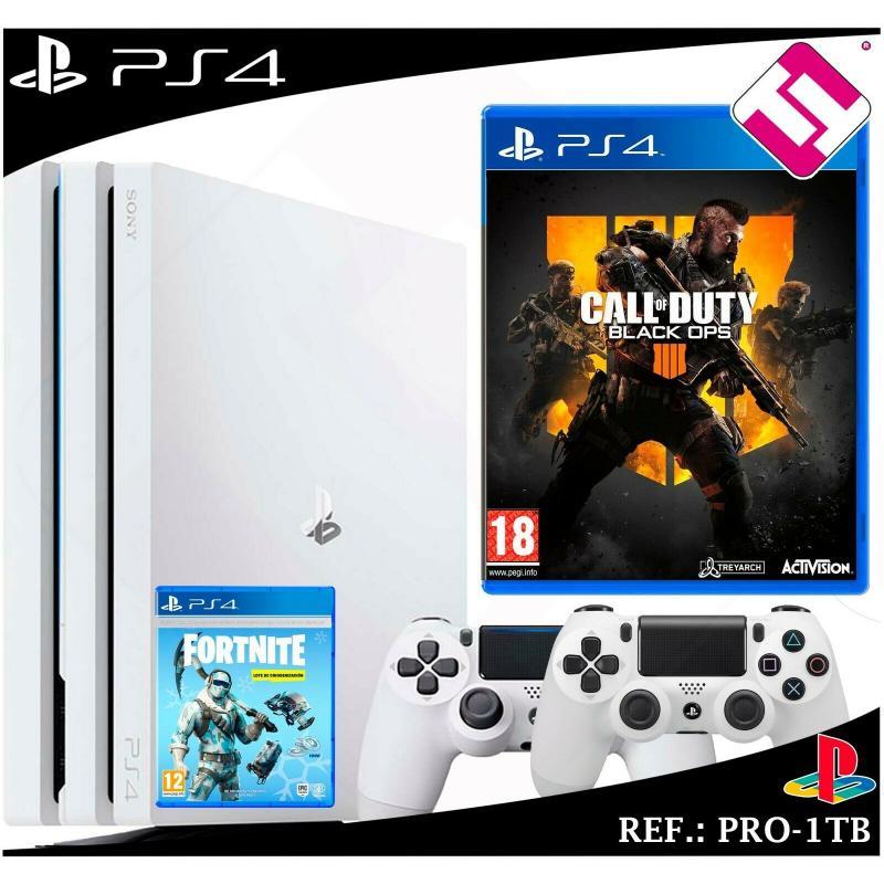 PS4 PLAYSTATION 4 PRO 1TB BLANCA 2 MANDOS BLANCOS CALL OF DUTY BLAK OPS4 FORNITE