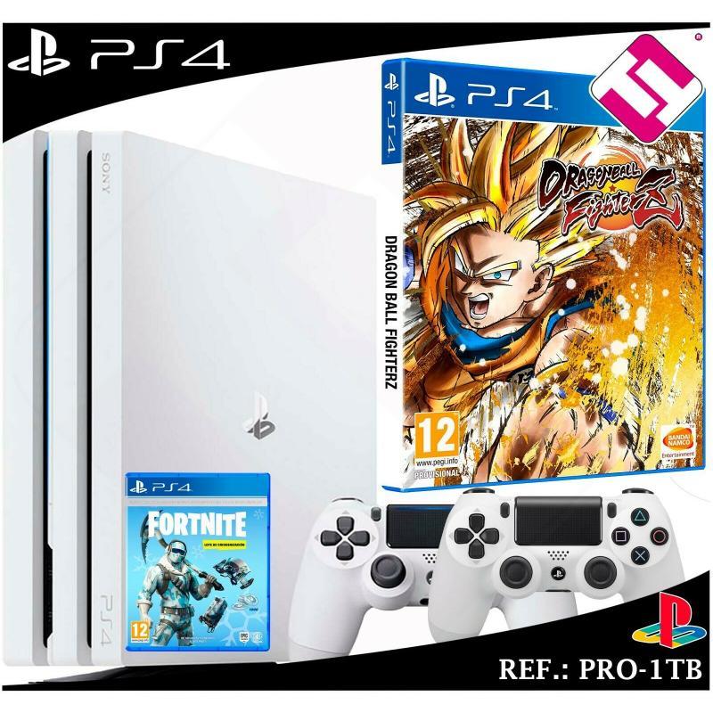 PS4 PLAYSTATION 4 PRO 1TB BLANCA 2 MANDOS BLANCOS DRAGON BALL FIGHTER Z FORNITE