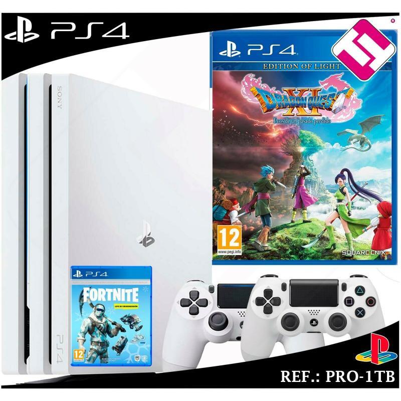 PS4 PLAYSTATION 4 PRO 1TB BLANCA DRAGON QUEST XI EOS 1 PASADO PERDIDO  FORNITE