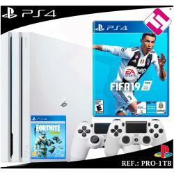 PS4 PLAYSTATION 4 PRO 1TB BLANCA + 2 MANDOS BLANCOS + JUEGO FIFA 2019 FORNITE