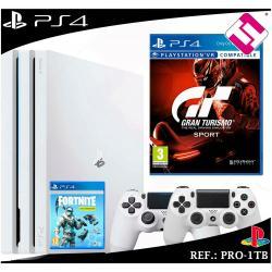 PS4 PLAYSTATION 4 PRO 1TB BLANCA 2 MANDOS BLANCOS GRAN TURISMO GT SPORT FORNITE
