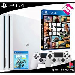 PS4 PLAYSTATION 4 PRO 1TB BLANCA 2 MANDOS BLANCOS GRAND THEFT AUTO GTA 5 FORNITE