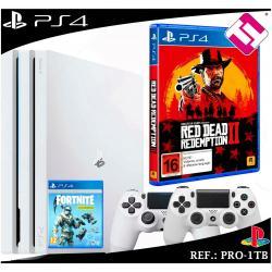 PS4 PLAYSTATION 4 PRO 1TB BLANCA + 2 MANDOS BLANCOS + JUEGO REDEMPTION 2 FORNITE