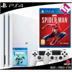 PS4 PLAYSTATION 4 PRO 1TB BLANCA + 2 MANDOS BLANCOS + JUEGO SPIDERMAN FORNITE