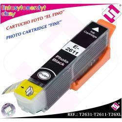 TINTA NEGRA FOTO FINO T2631 T2611 26XL COMPATIBLE NONOEM EPSON CARTUCHO NEGRO