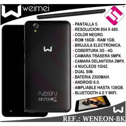 SMARTPHONE WEIMEI NEON NEGRO 5 PULGADAS 16GB ROM 1GB RAM 5MP 4G QUAD CORE LIBRE