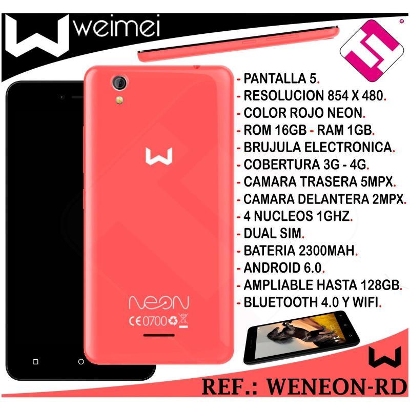SMARTPHONE WEIMEI NEON ROJO 5 PULGADAS 16GB ROM 1GB RAM 5MP 4G QUADCORE 4G LIBRE
